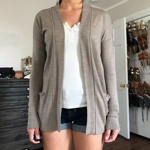 Loft tan open cardigan. Size XS